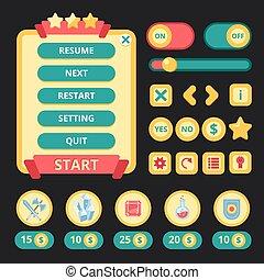 interface, jogo, medieval