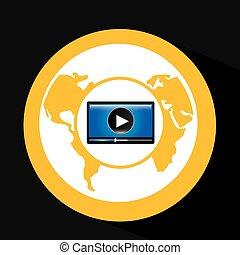 interface, joueur, globe, vidéo, conception