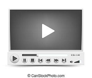 interface, joueur, vecteur, vidéo