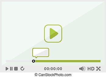 interface, joueur, vidéo