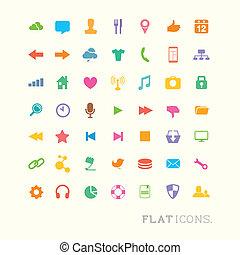 interface, kleurrijke, iconen