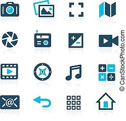 interface, média, --, azur, icônes