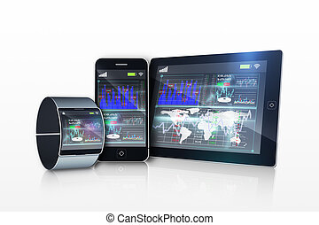 interface, média, exposer, appareils
