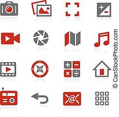 interface, média, vecteur, icônes