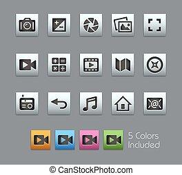 interface, mídia, --, satinbox, ícones
