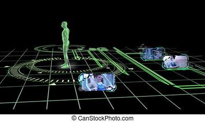 interface, met, draaibaar, menselijk lichaam