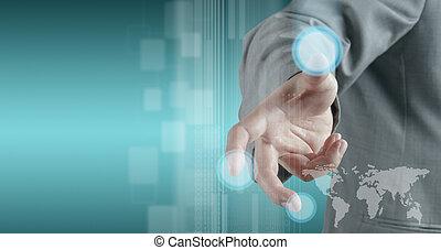 interface, modernos, tecnologia, trabalhando, mão
