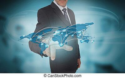 interface, mondiale, futuriste, homme affaires, carte, toucher