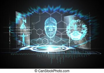interface, noir, bleu, monde médical