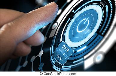 interface, nouvelle technologie, futuriste, utilisateur