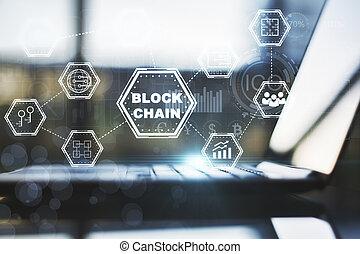 interface, ordinateur portable, blockchain