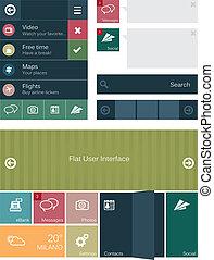interface, plat, éléments, utilisateur