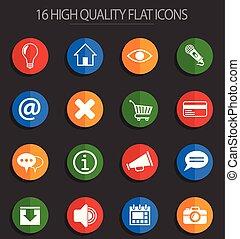 interface, plat, 16, utilisateur, icônes