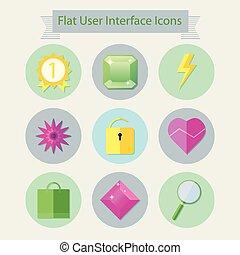 interface, plat, 2, gebruiker, iconen