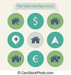interface, plat, 3, utilisateur, icônes