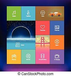 interface, plat, conception, utilisateur, gabarit