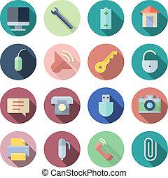 interface, plat, conception, utilisateur, icônes
