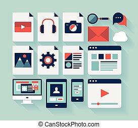 interface, plat, ensemble, utilisateur, icônes