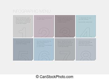 interface, plat, infographic, éléments