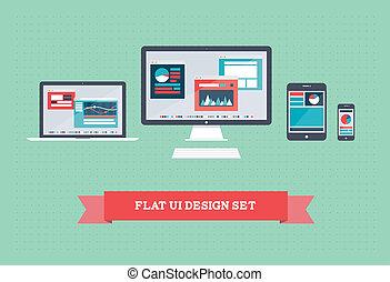 interface, plat, mettez stylique, utilisateur