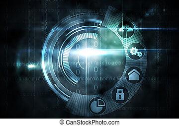 interface, pretas, tecnologia, brilho