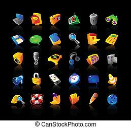 interface, realístico, jogo, ícones