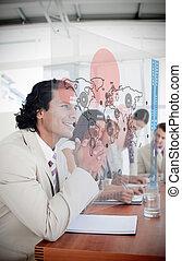 interface, regarder, futuriste, homme affaires, carte, rouges, heureux
