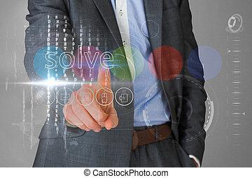 interface, resolva, homem negócios, palavra, tocar
