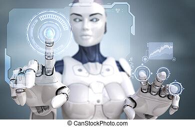 interface, robô, trabalhando, sci-fi