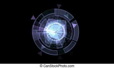 interface, rotation, logiciel, matériels, verre