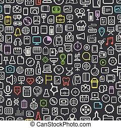 interface, seamless, fundo, ícones