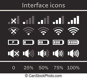 interface, set., icônes