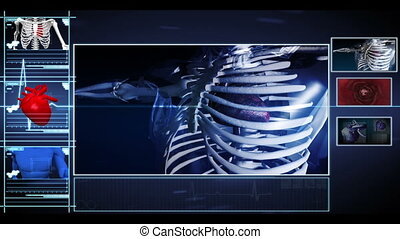 Interface showing running skeleton with pumpig heart and...