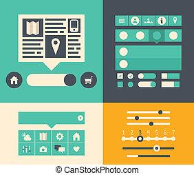 interface, site web, utilisateur, éléments