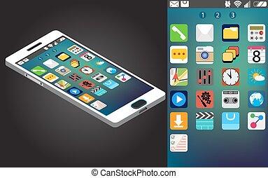interface, smartphone, icônes