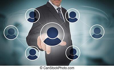 interface, social, futuriste, média, homme affaires, toucher