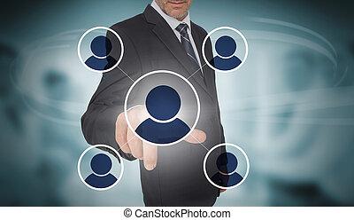 interface, social, réseau, futuriste, homme affaires, toucher