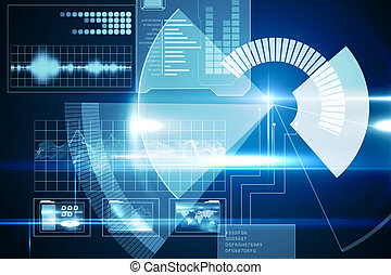 interface, technologie, cadran, bleu