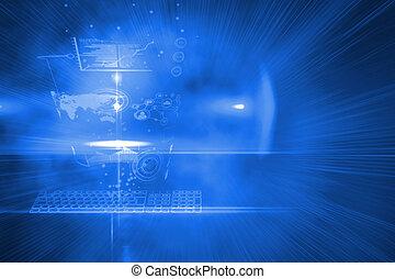interface, technologie, futuriste