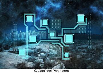 interface, technologie, image composée