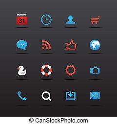 interface, teia, cobrança, ícones