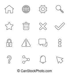 interface, toile, contour, icônes