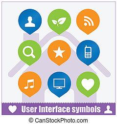 interface, toile, ensemble, utilisateur, symboles
