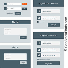 interface, toile, login, ensemble, utilisateur