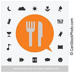 interface, toile, résumé, ensemble, symboles