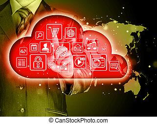 interface, touchscreen, nuvem, computando