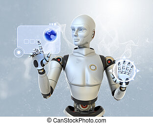 interface, usando, robô, futurista