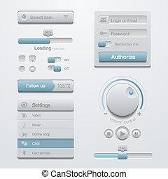 interface utilisateur, éléments conception, gabarit, kit., pour, adaptatif, apps.