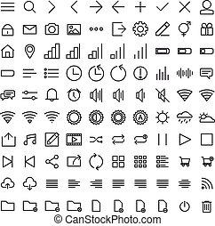 interface, utilisateur, ensemble, contour, icônes