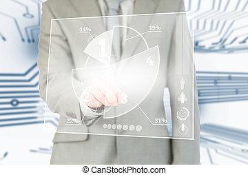 interface, utilisation, futuriste, transparent, homme affaires